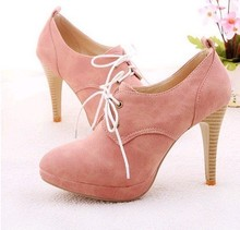 2015 HOT Fashion Sweety lace up Women high heel shoes for Lady high heels & Beige,Pink,Black,Blue