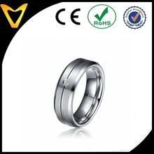 Classical design Edge Polishing Middle Sand Tungsten Rings Slotted Set With one CZ Stone