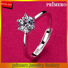 PRIMERO 100% 925 sterling silver Six Claw CZ Diamond Round Cut high quality Wedding cuff Ring jewelry Wholesale For Women