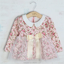 YS-03 wholesale fashion children spring child chothes kids clothing Girls Europe floral sleeve cotton long-sleeved dress frock