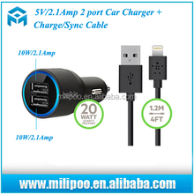 Original 5V/2.1A Dual USB Car Charger for iPhone5/iPhone6 (F8J071bt04) Black/White