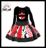 yawoo 2016 valentine's outfits wholesale children's boutique clothing floral skirts black shirt tops branded cutes clothing sets