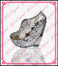 Aidocrystal exotic Italian handmade white mirror chunky high heel closed toe slingback shoes for lady
