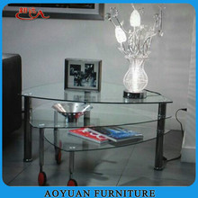 B45-2 wholesale triangle glass coffee table with wheels