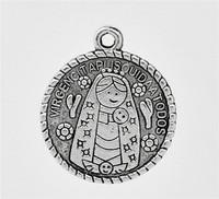 Antique Silver Virgencita Charm Pendants 25x22mm