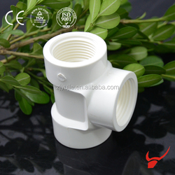 high pressure pvc pipe raw material female thread tee fitting