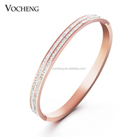 Wholesale 10pcs/lot NOT FADE 2 Colors Stainless Steel Bangle CZ Stone Crystal Women Bangle (VG-013*10) Vocheng Jewelry