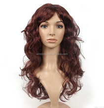 2015 Winsbrasil Women Wave Wig Black Brown Colour 16 inch Human Hair Wig Stock Cheap Synthetic hair