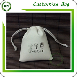 Hongway Customized Soft Faux Suede Leather Drawstring Logo Print Jewelry Pouch&Gift Bag