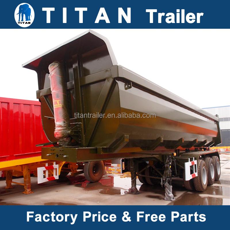 Nhiệm vụ nặng tipping trailer, 3 trục hạt tipper trailer xi lanh thủy lực dump truck bán rơ moóc để bán