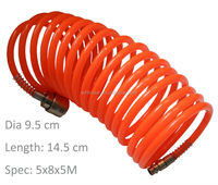 Red Dia 8mm Spring Spiral Recoil PE air hose for Pneumatic system