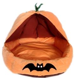 2015 hot sale Custom yellow plush Halloween pumpkin pet bed for dog and cat