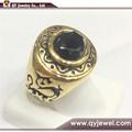 Позолоченные из нержавеющей стали литья полированная мужская кольцо с камнем ювелирные изделия размер 7-15