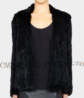 CX-G-A-149D Women Fashion Winter Knitted Real Rabbit Fur Coat