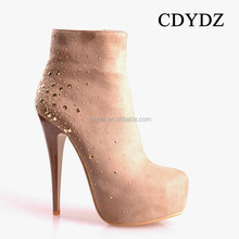CDYDZ M205-W5516 Solid color side zipper Short Boot suede rhinestone Roman shoes young fashion shoes women 2015 high heel china