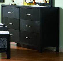 Ash wood veneer black 6 drawers dresser