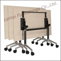 Rcetangle stainless steel with wheel base folding table ( SP-FT405)