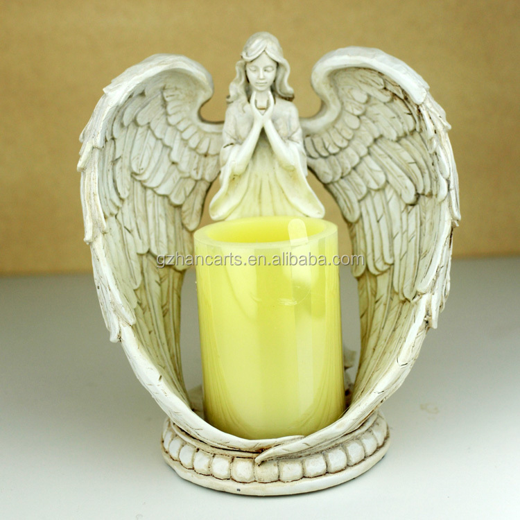 Resin arts and craft angel candle holder home decor angels for Arts and crafts candle sconces