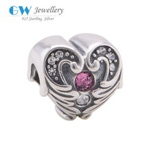 Heart Charm With Crystal Angel Wing 925 Sterling Silver Jewelry Making Pendants Beads Fits Charm Bracelet