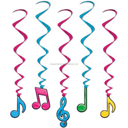 Coloured Music Notes Hanging Swirl Ceiling Dangling Danglers Decorations
