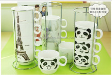 starbuck eiffel tower panda and giraffe ceramic mug with metal shelf ,customized promotional set cup