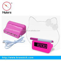 New hot led message board digital alarm clock with phone charger