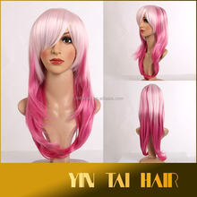 Ombre hair wig Fashion Lolita Long Curly Wavy Wigs Cosplay Party Rainbow Colors Full light pink to pink Hair Wig 2015 hot selli