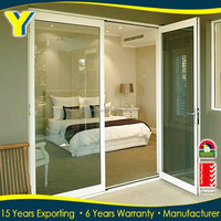 48 inches white modern bedroom doors / USA market double glazed lowes prices patio 3 panels sliding glass doors