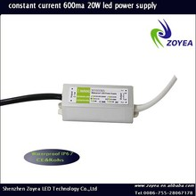 CE RoHS Approved Waterproof Single Output DC 30-36V 20w Constant Current Led Power Supply