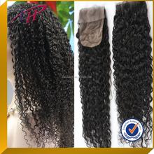 Wholesale cheap 100%Brazilian virgin human hair afro kinky curly 4*4 silk top full lace closure