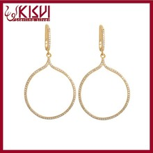 925 Sterling silver jewelry 14K Yellow Gold Large Water drop Earrings,Simple Gold Earring Designs For Women