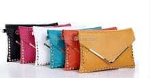 hot selling Metal V pattern trend candy color PU Women clutch,/ ladies neon envelop shoulder bag
