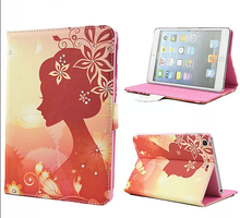 Painted girl diamond flip bracket leather case for ipad mini