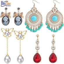 Wholesale Fashion S925 Sterling Silver Pearl Earring,2015 Gold Bead Crystal Pendant Earrings Designs For Women