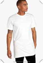 Street Wear High Quality 100% Cotton White Plain Mens Long Line Short Sleeve T Shirts