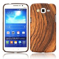 Wood Grain Pattern Leather Coated Hard Back Cover Case for Samsung Galaxy Grand 2 G7106