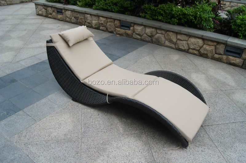 S shaped outdoor pool sun bed garden aluminum brown wicker for S shaped chaise lounge chairs