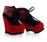 large size pump women large size ankle boots heels pump winter red Lace-up leather boots pump manufacturer