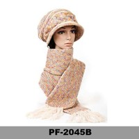 Ladies Designer Hat and Scarf Sets, Wool Crochet Hat and Scarf Set