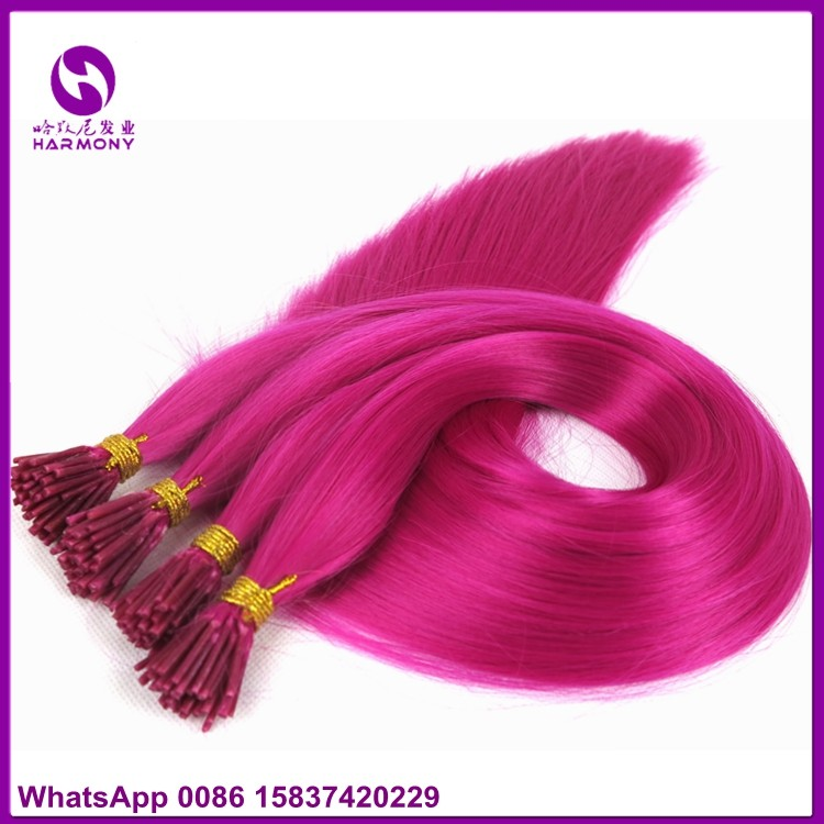 Stock 22inch 1gram Baby Pink Double Drawn Bright Color I Tip Hair
