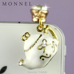 ip536 Cute White Tea Pot 3.5mm Anti Dust Phone Plug For iPhone android mobile Phone