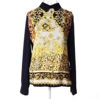 Palace Print Flower Chiffon Blouse women cute tops Long sleeve black blouse for girls c1010