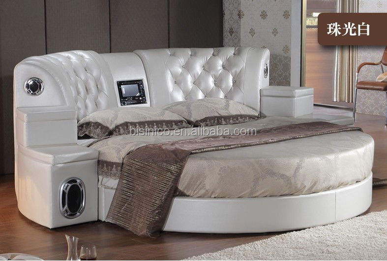 bisini massage v ritable en cuir dvd lit rond avec haut parleur h tel de massage de sexe lit. Black Bedroom Furniture Sets. Home Design Ideas