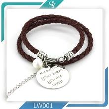2015 custom logo fashion wrap mens genuine charm leather bracelet