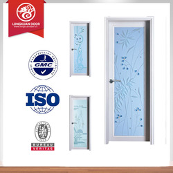 latest design aluminum frame frosted glass toilet door/good glass door