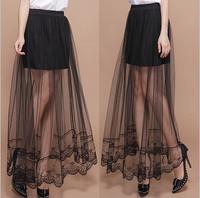 MS52412W gauze sexy black transparent woman skirt