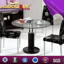 2015 china modern round glass folding dining table set