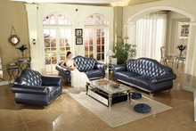 Euro style deluxe lounge furniture fancy new design top grain leather sofa set 3 2 1 seat SF869#