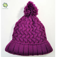 Knitted Beanie Hat With Cable Pattern