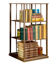 Metal Turning Bookcase with rusted patina finish